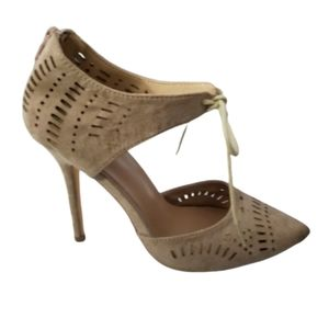 Ollio Cut Out Tie Up Faux Suede Heels Size 8.5